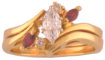 Accent Ruby & Diamond<br>Marquise = .32 Carat SI2 F<br>14 Karat Yellow Gold